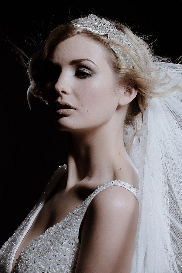 Model Wearing Odette Wedding Headband by Debbie Carlisle