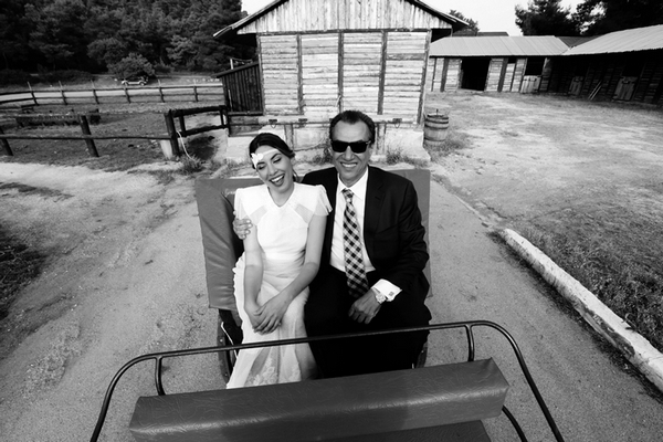 Bride and father on way to wedding