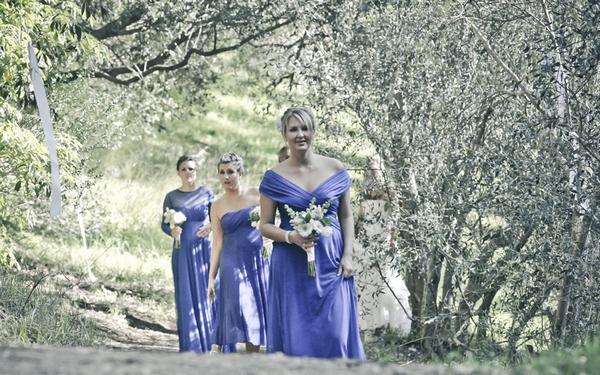 Bridesmaids in blue dresses