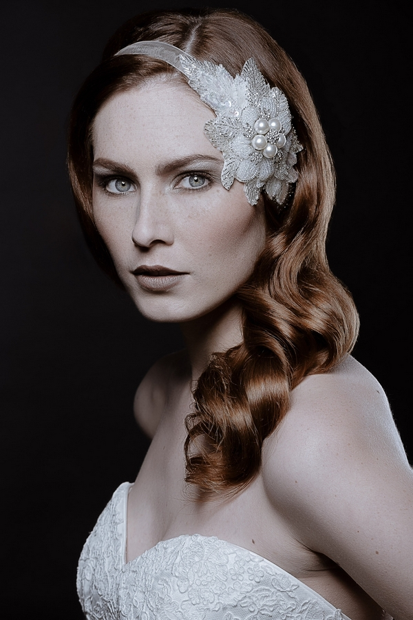 Model wearing Lily Floral Headpiece by Debbie Carlisle