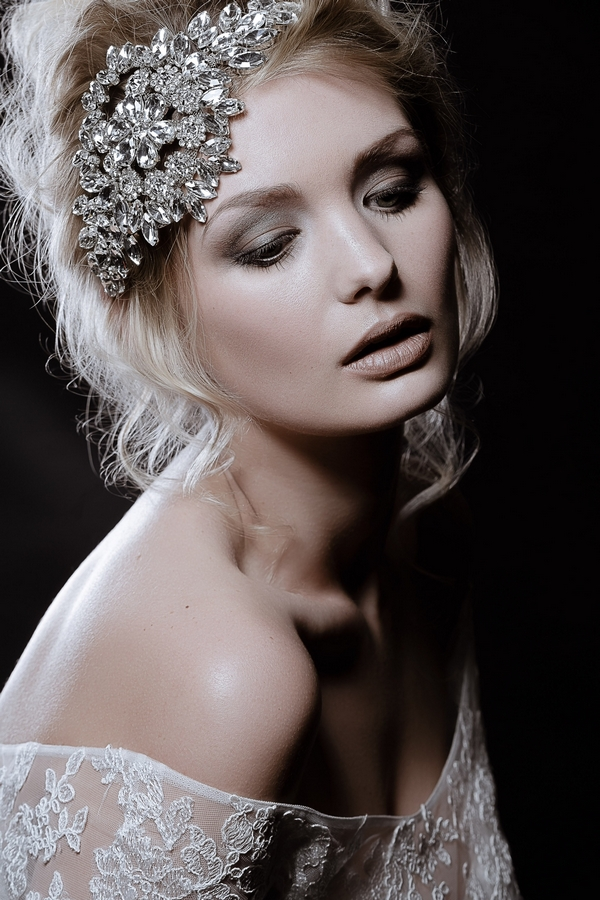 Model wearing Hattie Diamante Headpiece by Debbie Carlisle