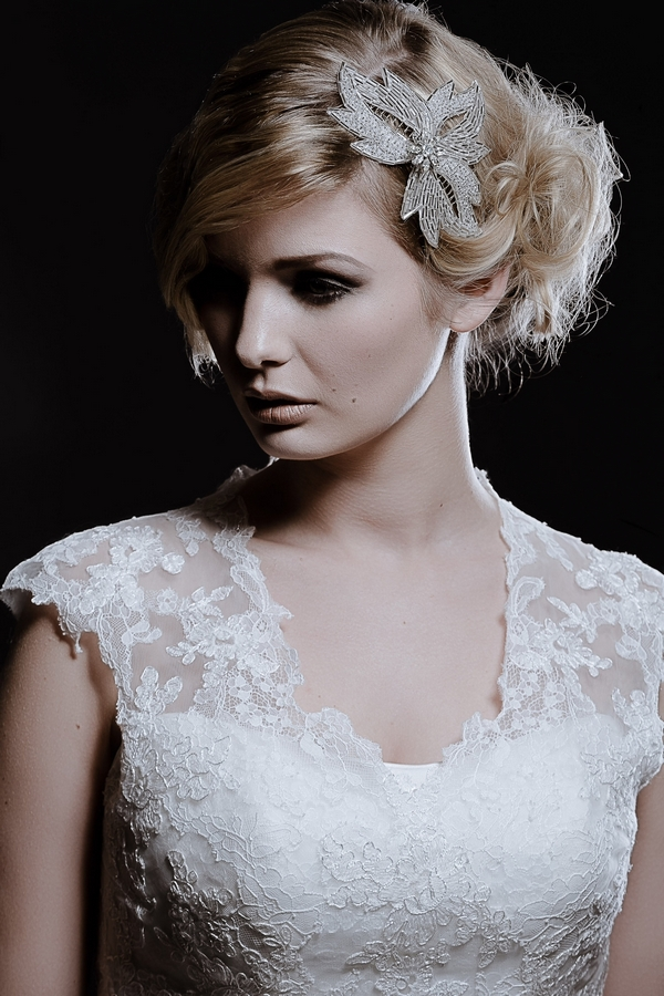 Model Wearing Olivia Bridal Hair Comb by Debbie Carlisle
