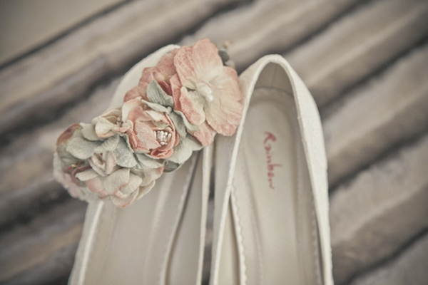 Flowers on bridal shoes