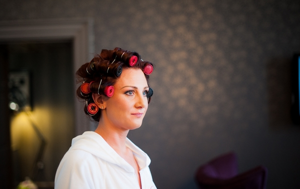 Bride with rollers in hair
