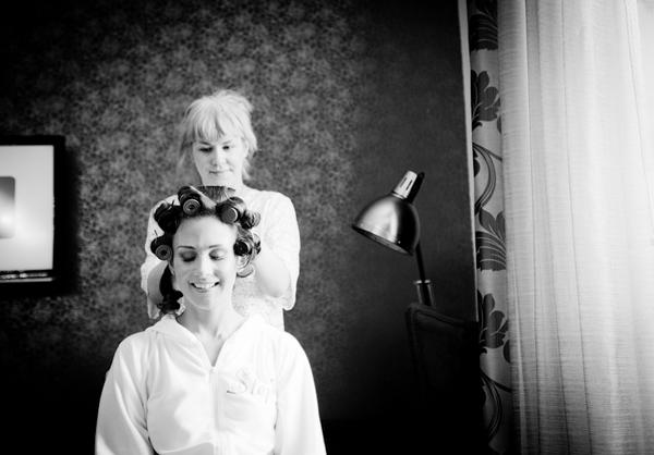 Bride having hair done