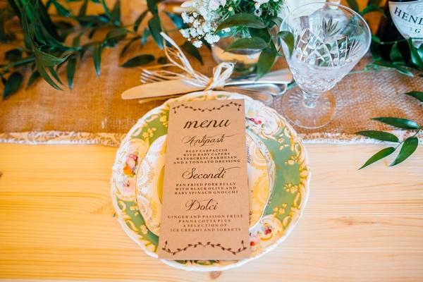 Wedding menu on plate
