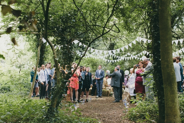 Wedding ceremony in woods