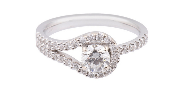 18ct White Gold 0.86ct Round Brilliant Diamond Solitaire and Diamond Shoulders Ring