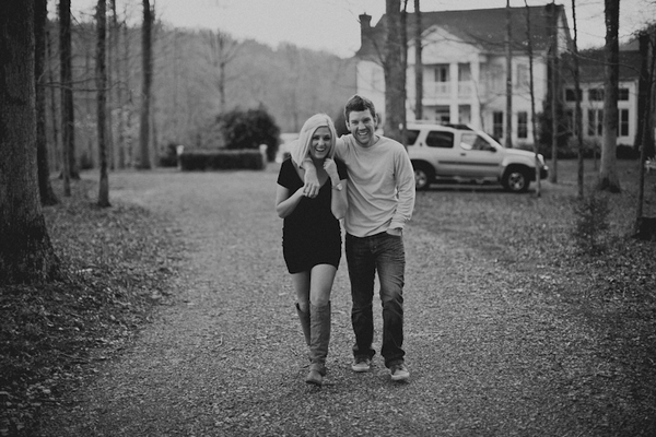 Engaged couple walking
