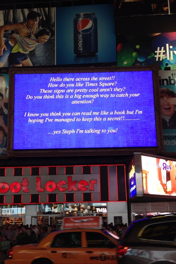 Proposal on big screen in Times Square