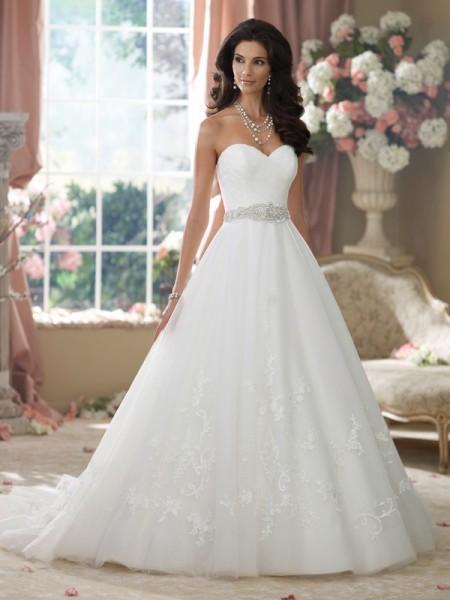 214221 Jearl Wedding Dress - David Tutera for Mon Cheri Fall 2014 Bridal Collection