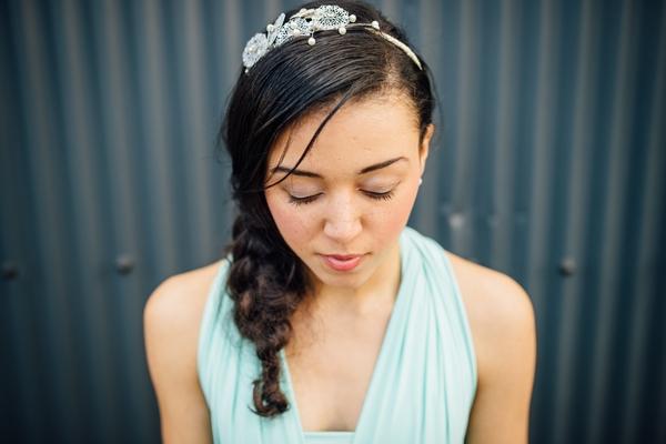 Bridesmaid with eyes shut