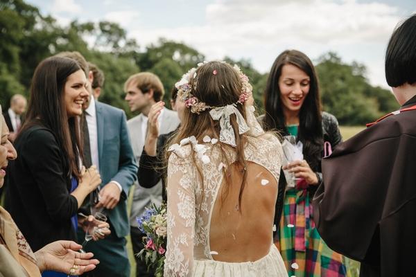 Back of bride's lace dress