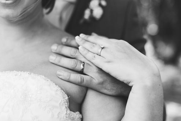 Wedding rings on fingers