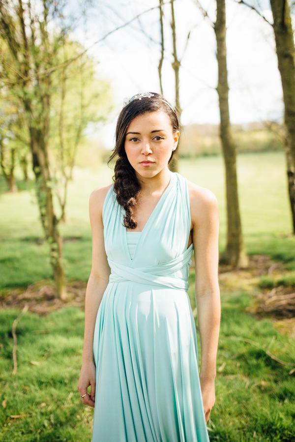 Bridesmaid wearing blue dress