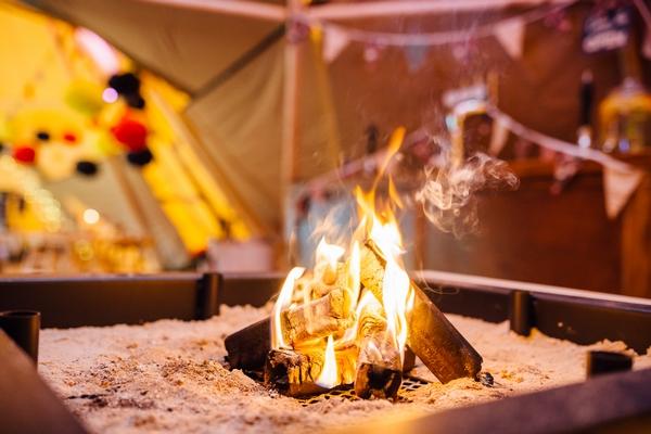Open fire in marquee