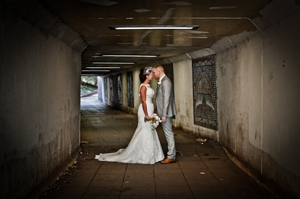 Bride and groom in subway