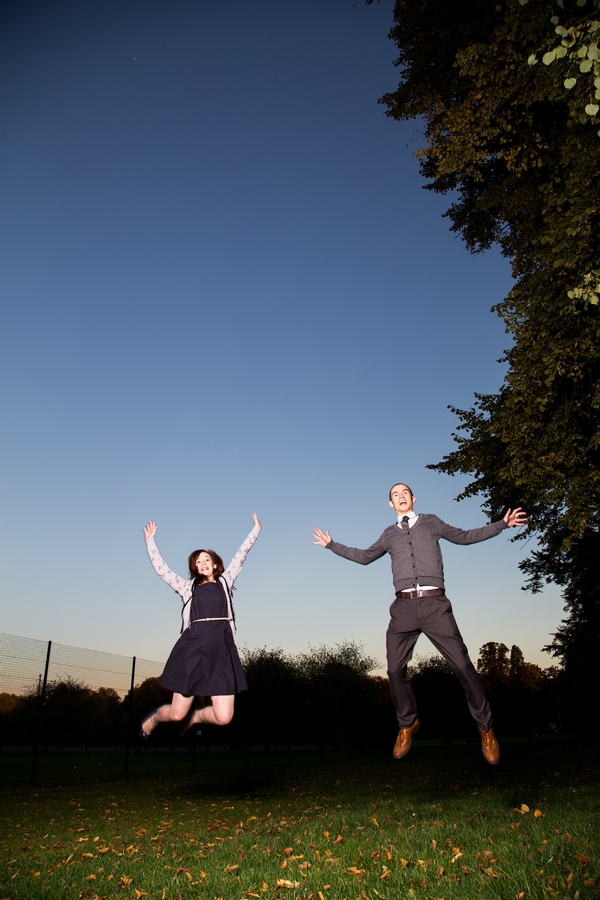 Couple jumping in the air