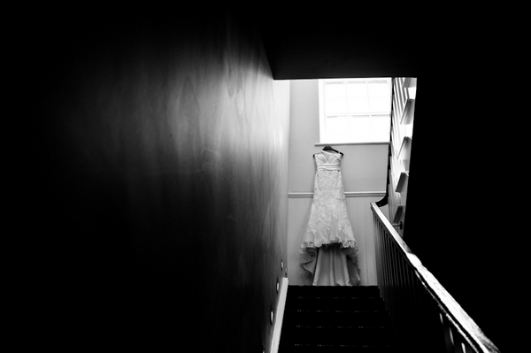 Wedding dress at top of stairs