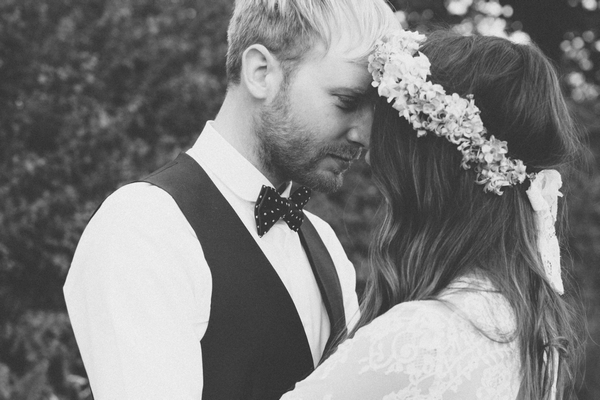 Bride and groom touching heads