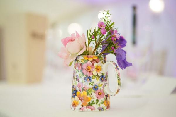 Jug of wedding table flowers