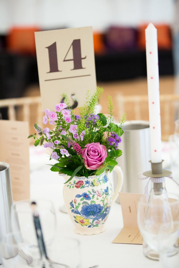 Jug of wedding flowers