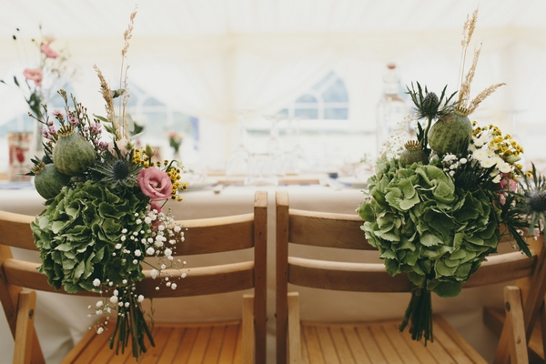 Flowers on back of chairs
