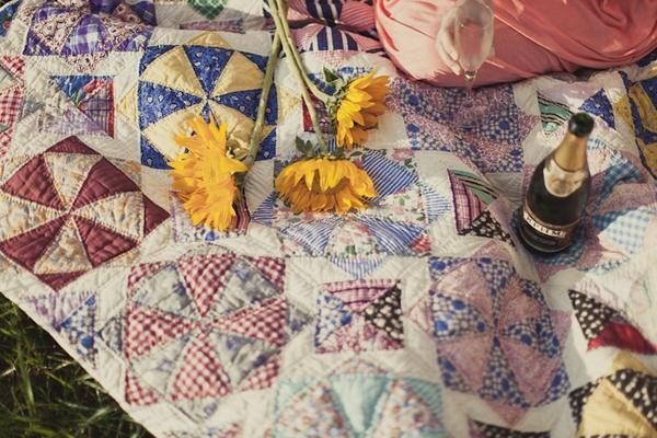 Flowers on blanket