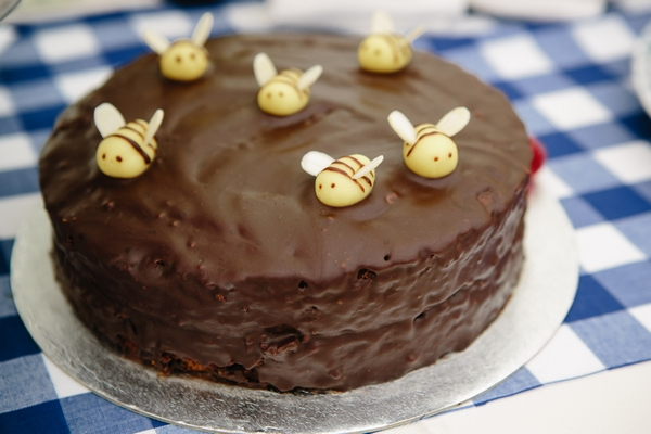 Chocolate cake with bees
