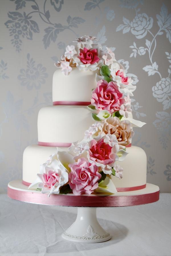 Pink Floral Cascade Wedding Cake - Jessica Lauren Cakes