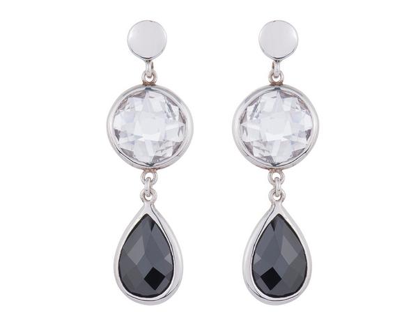 Silver 2-Colour Cubic Zirconia Drop Earrings