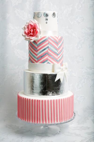 Silver Lining Wedding Cake - Jessica Lauren Cakes