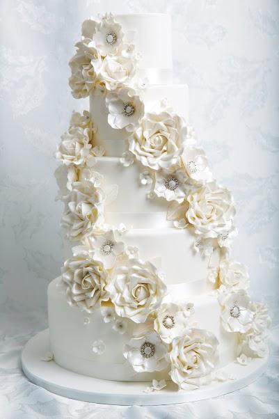 White Rose Cascade Wedding Cake - Jessica Lauren Cakes