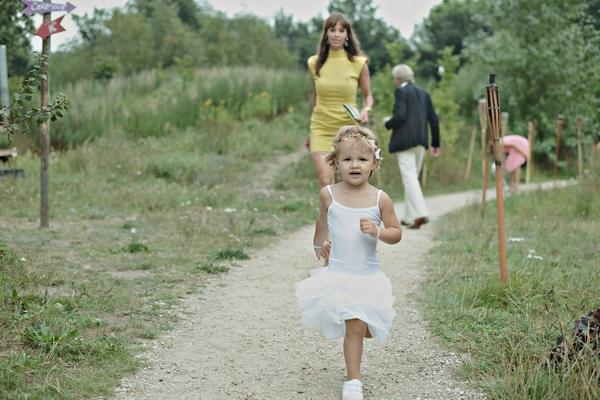 Young girl walking down path