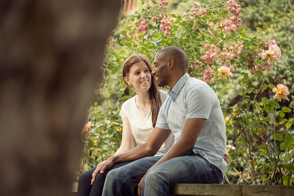 Couple sitting on wall in Holland Park