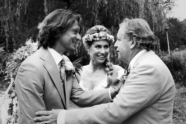 Bride, groom and father