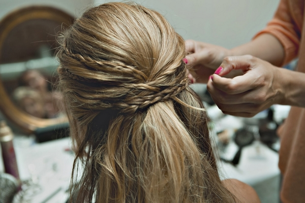 Braids in bride's hair