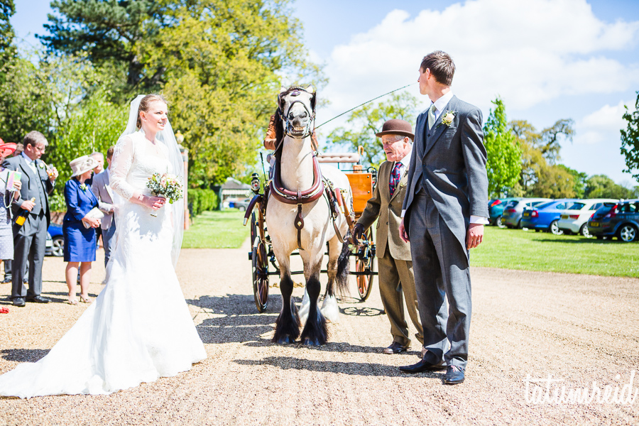 Bride and groom with horse and cart