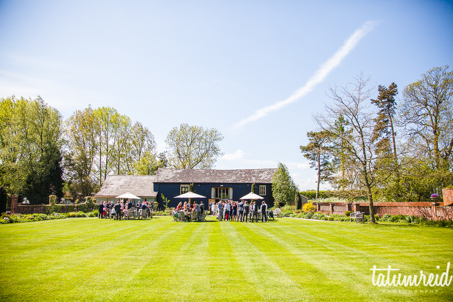 Wedding reception in garden of The Garden Barn