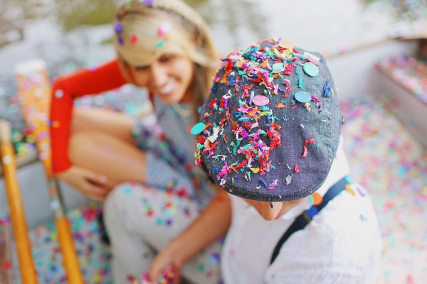 Confetti on man's flat cap