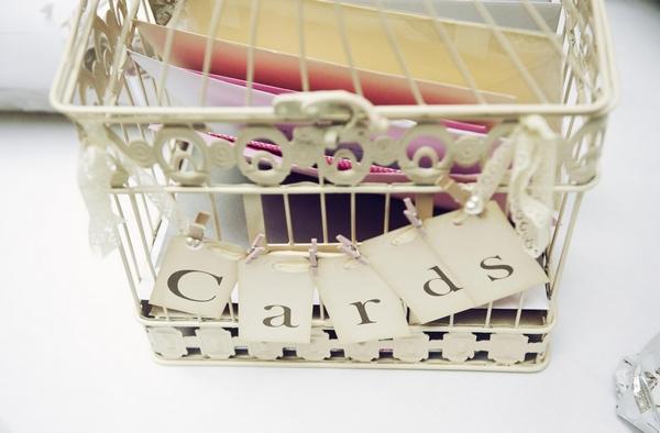 Shabby chic wedding card basket