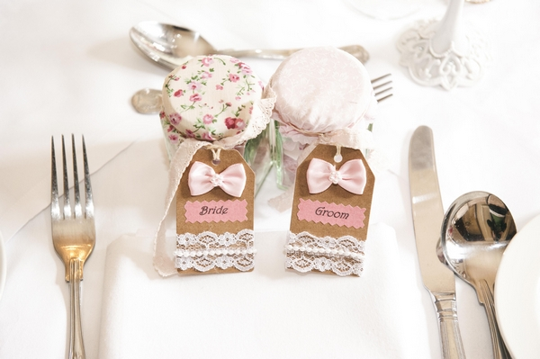 Shabby chic bride and groom place tags