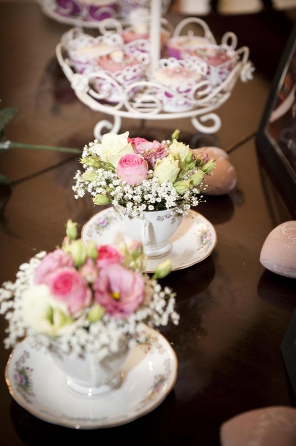Teacups full of flowers