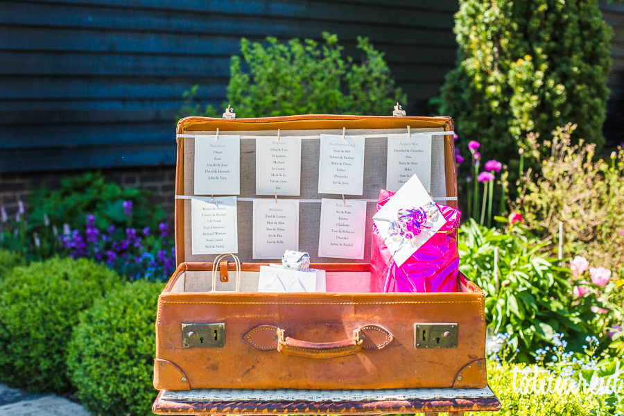 Suitcase wedding table plan