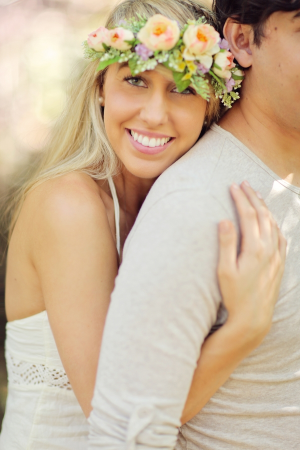 Woman hugging man from behind