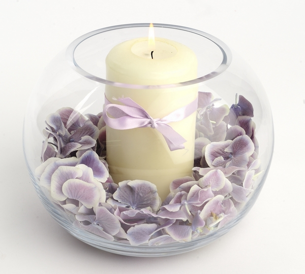 Candle in Bowl with Confetti