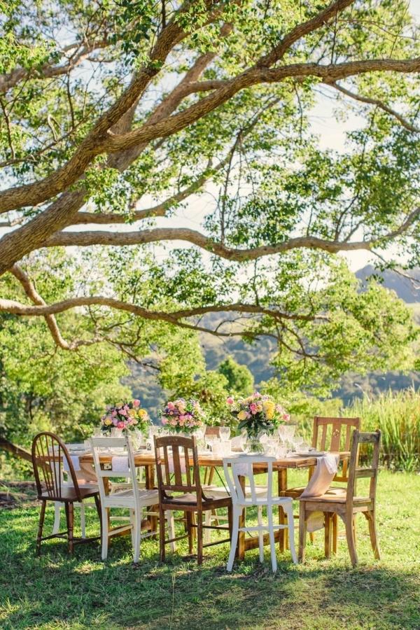 Wedding table under tree