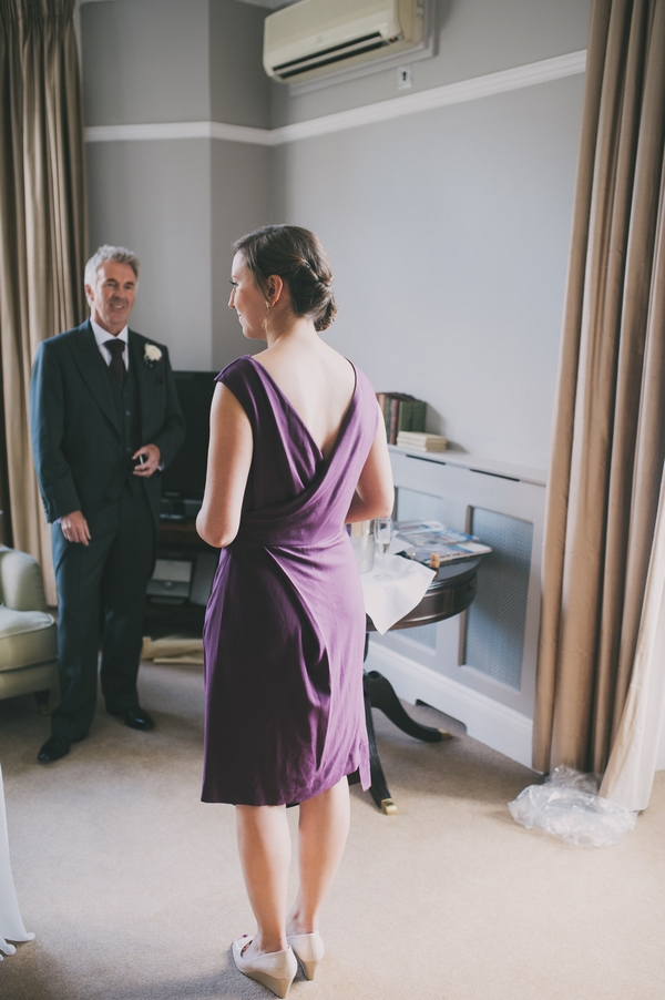 Bridesmaid in purple dress