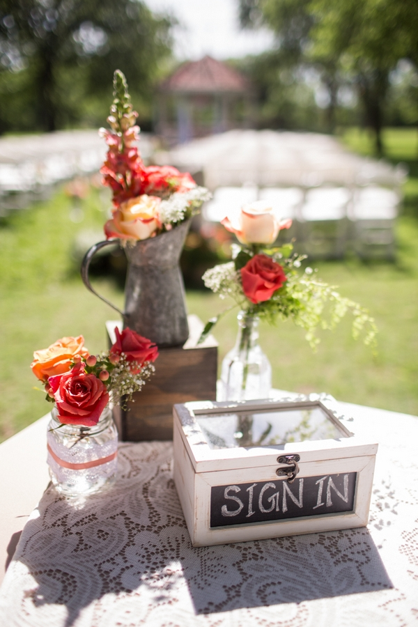 Flowers and sign in box