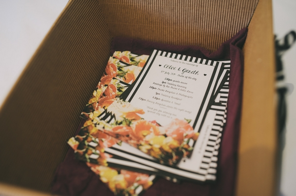 Black and white striped wedding order of service